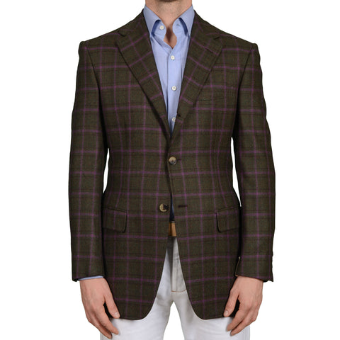 D'AVENZA Roma Plaid Lama-Wool Super 120's Flannel Jacket EU 50 NEW US 40