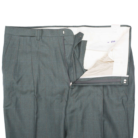 D'AVENZA Roma Green Herringbone Plaid Wool DP Dress Pants 56 NEW 40 Classic Fit