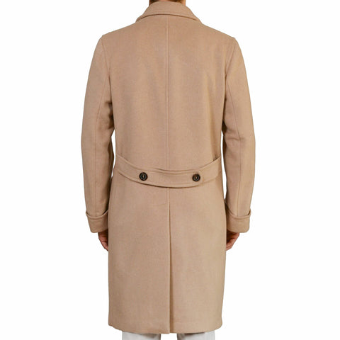 D'AVENZA Roma Handmade Beige Cashmere DB Polo Overcoat EU 50 NEW US 40 42