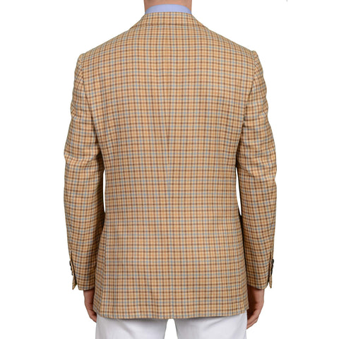 D'AVENZA Roma Handmade Beige Gun Club Plaid Cashmere Jacket EU 50 NEW US 40
