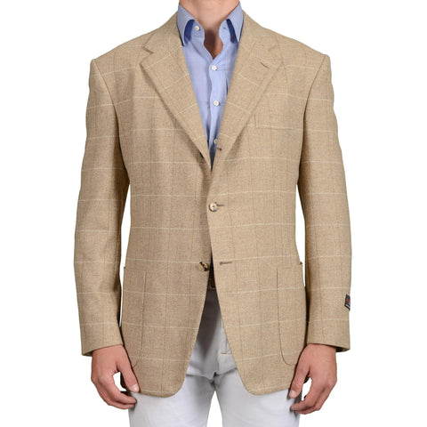 D'AVENZA Roma Handmade Beige Herringbone Plaid Wool Jacket Sport Coat NEW