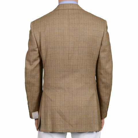 D'AVENZA Roma Handmade Beige Plaid Wool Jacket Sport Coat EU 50 NEW US 40