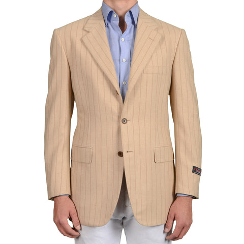 D'AVENZA Roma Handmade Beige Striped Camelhair Jacket EU 52 NEW US 42