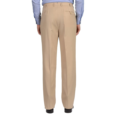 D'AVENZA Roma Handmade Beige Wool DP Dress Pants EU 50 NEW US 34 Classic Fit