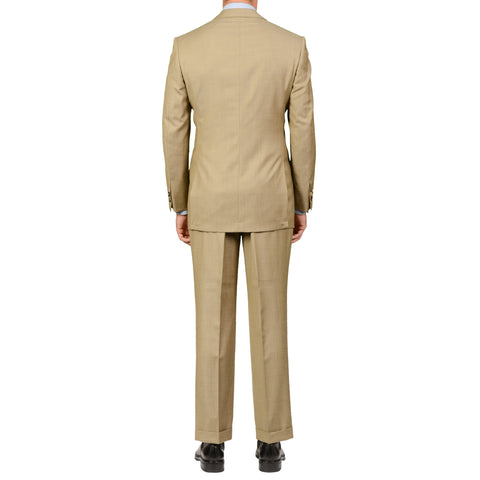 D'AVENZA Roma Handmade Beige Wool Suit EU 50 NEW US 40 Long