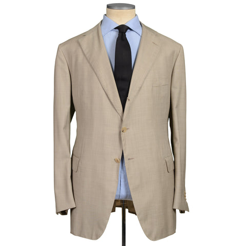D'AVENZA Roma Handmade Beige Wool Super 120's Suit EU 58 NEW US 48 Long