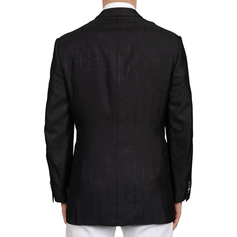 D'AVENZA Roma Handmade Black Silk Peak Lapel Dinner Jacket EU 50 NEW US 40