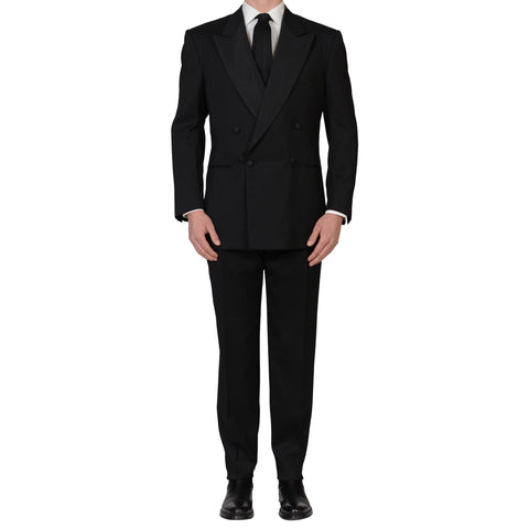 D'AVENZA Roma Handmade Black Striped Wool Silk Tuxedo DB Suit EU 54 NEW US 44