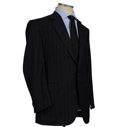 D'AVENZA Roma Handmade Black Striped Wool Suit EU 58 NEW US 48
