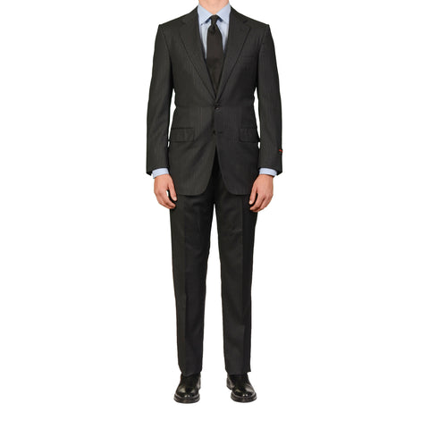 D'AVENZA Roma Handmade Black Striped Wool Super 120's Suit EU 50 NEW US 40