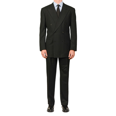 D'AVENZA Roma Handmade Black Wool DB Suit EU 54 NEW US 44