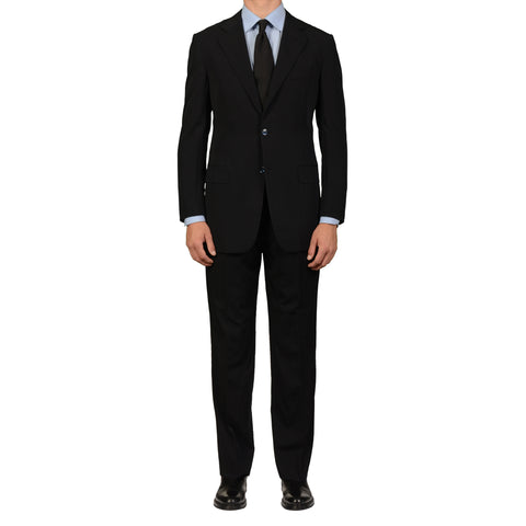 D'AVENZA Roma Handmade Black Wool Elegant Suit EU 50 NEW US 40