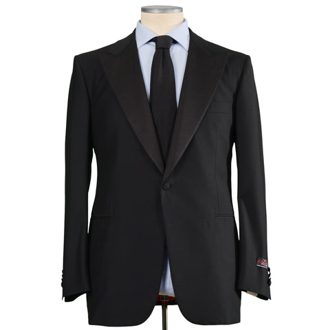 D'AVENZA Roma Handmade Black Wool Super 130's Tuxedo Suit EU 56 NEW US 46