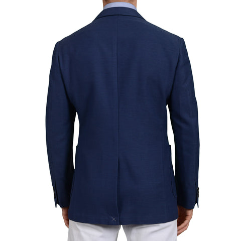 D'AVENZA Roma Handmade Blue Cotton-Wool Blazer Jacket EU 50 NEW US 40 Slim