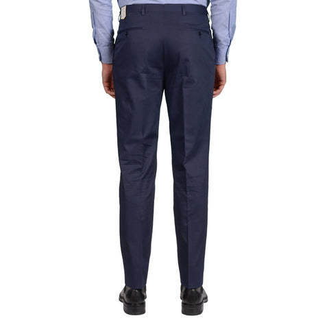D'AVENZA Roma Handmade Blue Cotton SP Dress Pants NEW Classic Fit