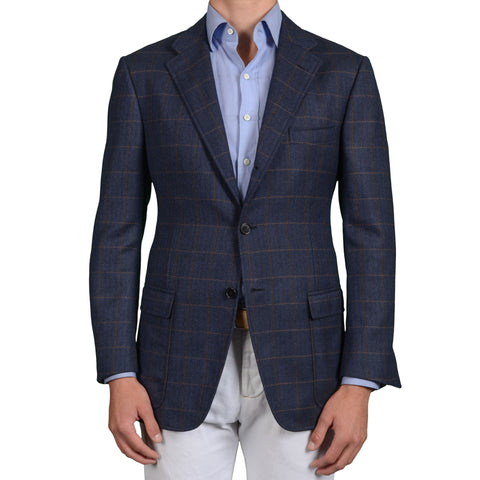 D'AVENZA Roma Handmade Blue Herringbone Plaid Wool Jacket EU 52 NEW US 42