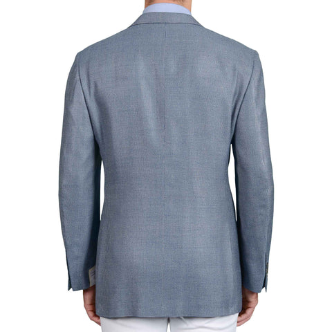 D'AVENZA Roma Handmade Blue Hopsack Silk-Wool Super 100's Jacket 62 NEW US 52
