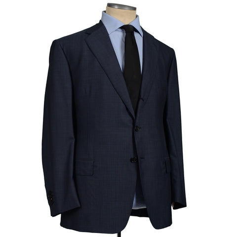 D'AVENZA Roma Handmade Blue Nailhead Wool Suit EU 60 NEW US 50
