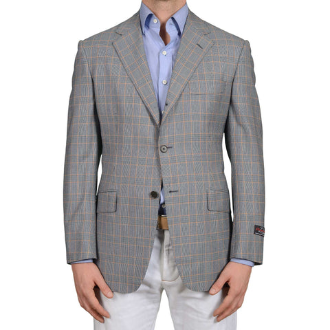 D'AVENZA Roma Handmade Blue Plaid Wool Super 120's Jacket EU 50 NEW US 40