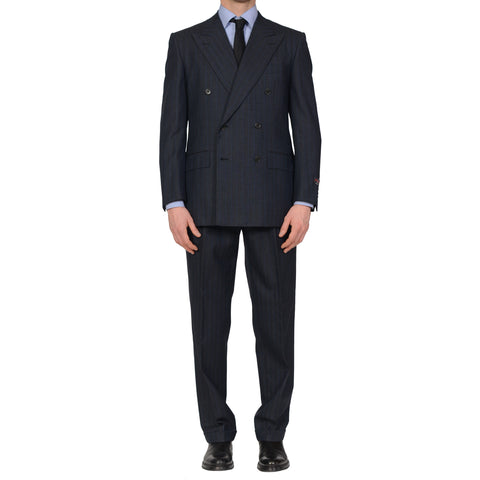 D'AVENZA Roma Handmade Blue Striped Wool DB Suit EU 50 NEW US 40
