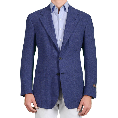 D'AVENZA Roma Handmade Blue Wool-Cashmere Unlined Jacket EU 50 NEW US 40