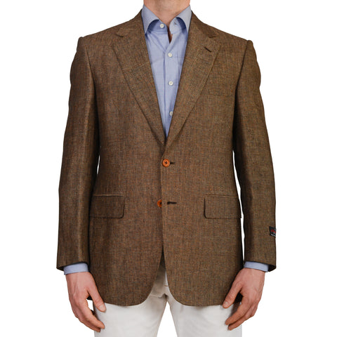 D'AVENZA Roma Handmade Brown Linen Wool Blazer Jacket EU 52 NEW US 42