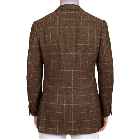 D'AVENZA Roma Handmade Brown Plaid Baby Alpaca-Silk Blazer Jacket NEW