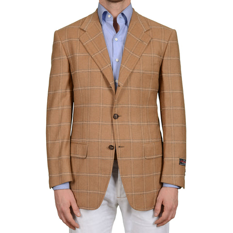 D'AVENZA Roma Handmade Brown Plaid Cashmere-Camelhair Jacket EU 50 NEW US 40