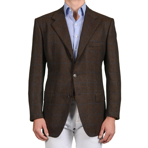 D'AVENZA Roma Handmade Brown Plaid Cashmere-Mohair Jacket EU 58 NEW US 48