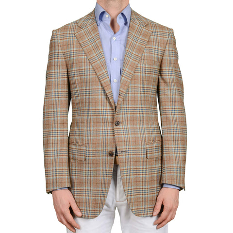 D'AVENZA Roma Handmade Brown Plaid Wool Flannel Jacket Sport Coat 50 NEW US 40