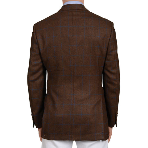 D'AVENZA Roma Handmade Brown Plaid Wool Jacket Sport Coat EU 50 NEW US 40