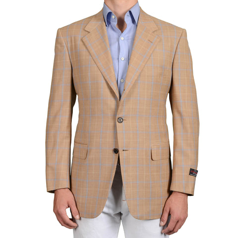 D'AVENZA Roma Handmade Brown Plaid Wool Super 130's Jacket EU 54 NEW US 44