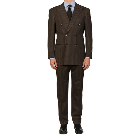 D'AVENZA Roma Handmade Brown Striped Wool DB Suit EU 50 NEW US 40