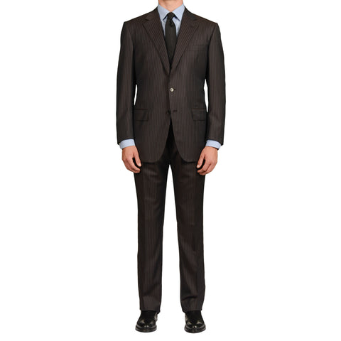 D'AVENZA Roma Handmade Brown Striped Wool Suit EU 54 NEW US 44
