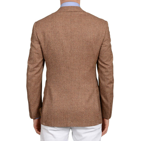 D'AVENZA Roma Handmade Brown Wool-Cashmere Silk Lined Jacket 50 NEW US 40