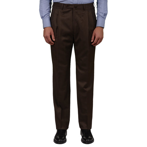 D'AVENZA Roma Handmade Brown Wool DP Dress Pants NEW Classic Fit