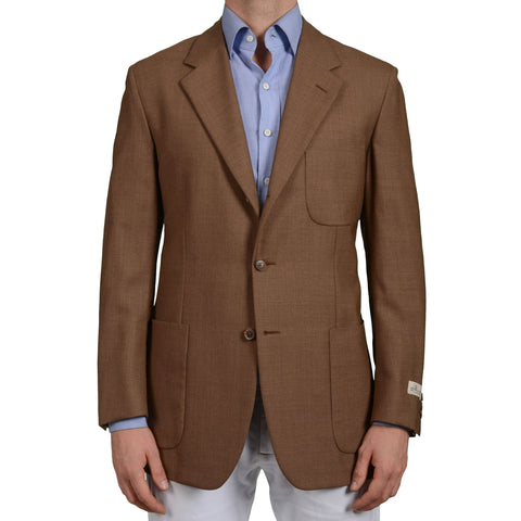D'AVENZA Roma Handmade Brown Wool Jacket Sports Coat EU 50 NEW US 40