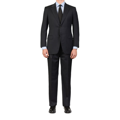 D'AVENZA Roma Handmade Dark Blue Wool Super 120's Suit EU 50 NEW US 40