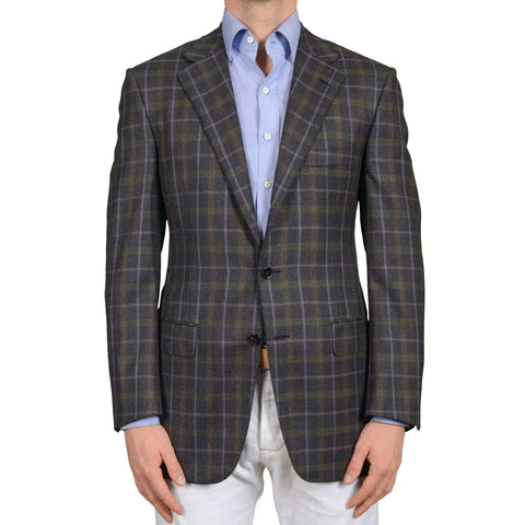 D'AVENZA Roma Handmade Dark Gray Plaid Flannel Wool Blazer Jacket NEW