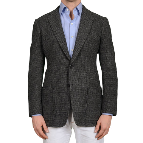 D'AVENZA Roma Handmade Dark Gray Wool Unlined Jacket EU 50 NEW US 40