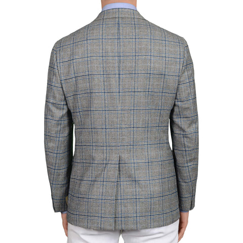 D'AVENZA Roma Handmade Gray-Blue Plaid Wool Cashmere Flannel Jacket NEW