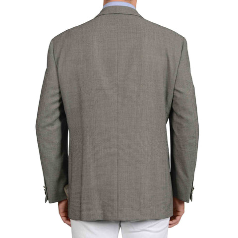 D'AVENZA Roma Handmade Gray Wool 1 Button Metal Button Blazer Jacket NEW