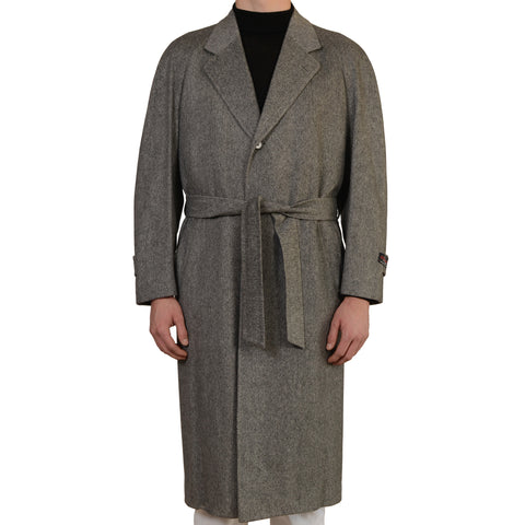 D'AVENZA Roma Handmade Gray Cashmere Twill Belted Overcoat EU 50 NEW US M