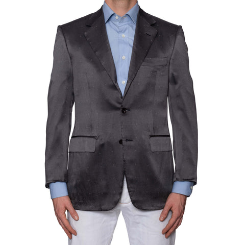 D'AVENZA Roma Handmade Gray Patterned Silk Jacket EU 50 NEW US 40