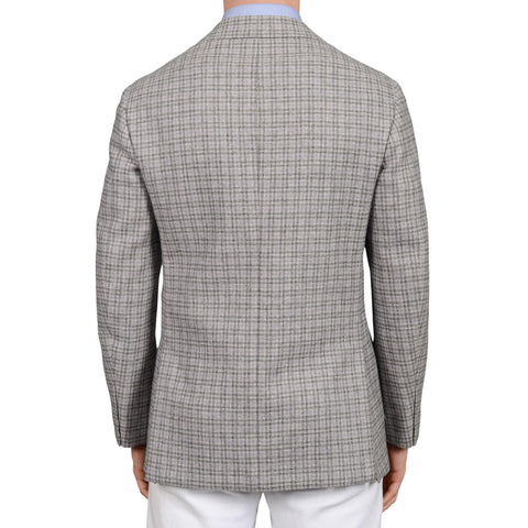 D'AVENZA Roma Handmade Gray Plaid Wool-Cashmere Flannel Jacket 50 NEW US 40
