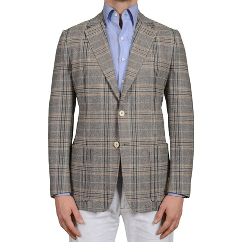 D'AVENZA Roma Handmade Gray Plaid Wool-Cashmere Unlined Jacket EU 50 NEW US 40