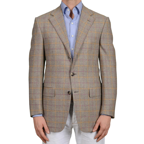 D'AVENZA Roma Handmade Gray Plaid Wool-Mohair-Cashmere Jacket EU 50 NEW US 40