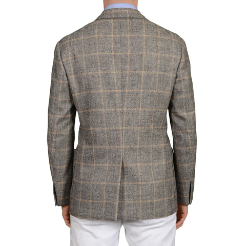 D'AVENZA Roma Handmade Gray Plaid Wool Cashmere Blazer Jacket EU 50 NEW US 40