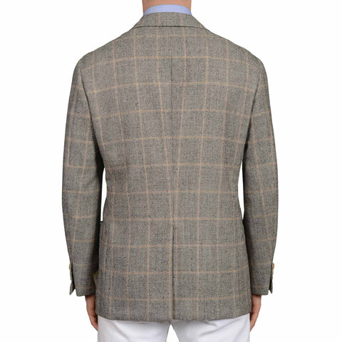D'AVENZA Roma Handmade Gray Plaid Wool Cashmere Blazer Jacket EU 52 NEW US 42