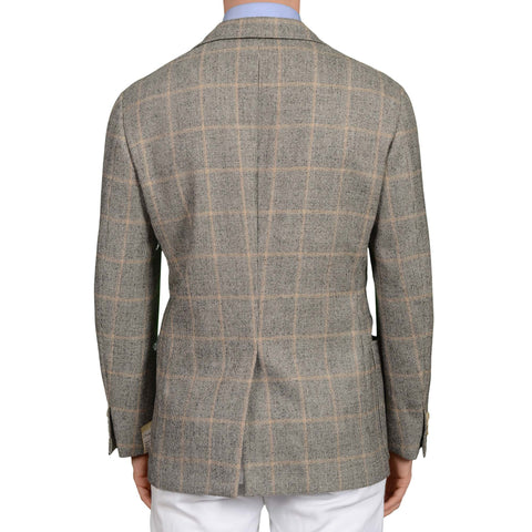D'AVENZA Roma Handmade Gray Plaid Wool Cashmere Flannel Jacket EU 50 NEW US 40